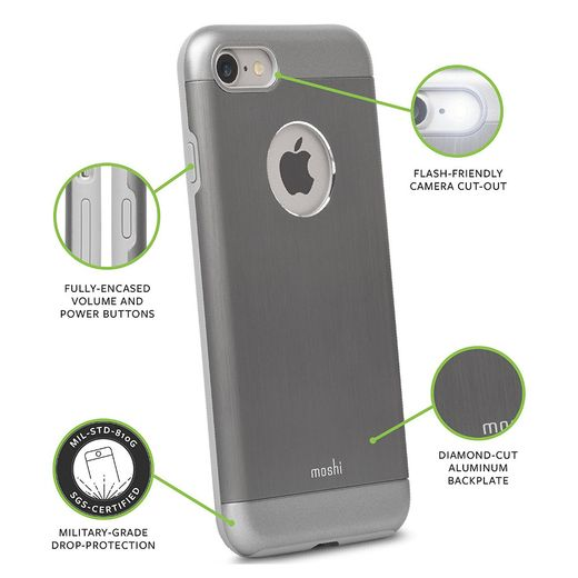 MOSHI IGLAZE ARMOUR CASE IPHONE 7 GUNMETAL